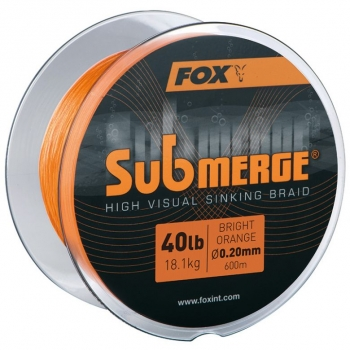 Fox Submerge High Visual Sinking Braid Bright Orange 0.16mm / 11.3 Kg / 300m