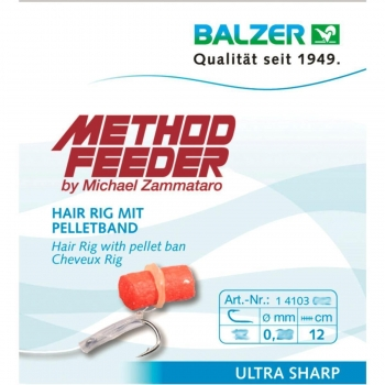 Balzer Method Feeder Fertighaken Hair Rig mit Pelletband 5 Stk.